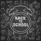 Back to school vector sketch lettering and hand drawn watercolor alarm clock.  Stock Images