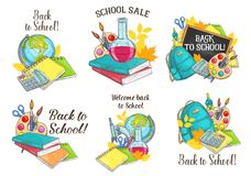 Back to School vector sketch stationery icons. Welcome Back to School icons of lesson stationery, book, pen or pencil and autumn maple or rowan leaf and Royalty Free Stock Image