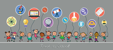 Back to School. Vector sketches with happy pupils. Children hold balloons in the form of icons of education vector illustration