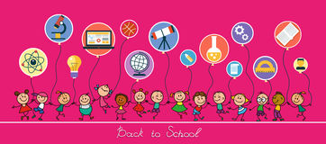 Back to School. Vector sketches with happy pupils. Children hold balloons in the form of icons of education. On a pink background stock illustration
