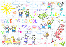 Back to school. Vector sketches with happy pupils. Sketch on notebook page Stock Images