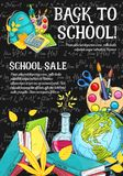 Back to School vector stationery sale sketch. Back to School sale promo offer web banner template or sketch poster design of education stationery and lesson vector illustration