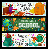 Back to School vector study stationery banners set Stock Photography