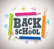 Back to school vector typography banner design with colorful crayons Royalty Free Stock Images