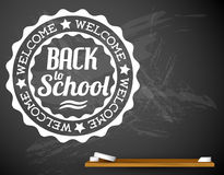 Back to school vector white illustration on a chalkboard Royalty Free Stock Image