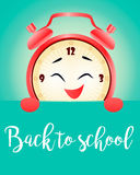 Back to school vertical background with realistic alarm clock vector illustration