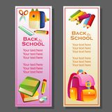 Back to school vertical banner with stationary
