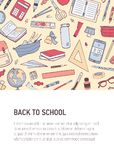 Back To School vertical flyer or poster template with place for text and decorated by pattern or texture with stationery. Colorful trendy vector illustration vector illustration