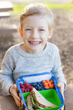 Back to school. View from above of cheerful schoolboy eating healthy lunch during recess at school Royalty Free Stock Images