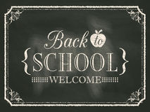Back to School vintage chalk board background Stock Images