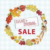 Back to school. Watercolor autumn leaves wreath Royalty Free Stock Photo