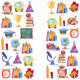 Back to school Watercolor hand drawn set with education elements Royalty Free Stock Photos
