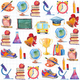 Back to school Watercolor hand drawn set with education elements Royalty Free Stock Images