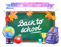 Back to school. Watercolor illustration with Stock Photo