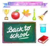 Back to school. Watercolor illustration with Stock Image
