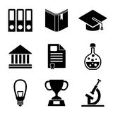Back to school web and mobile logo icons collection. On white back. Vector symbols of education and learning Stock Images