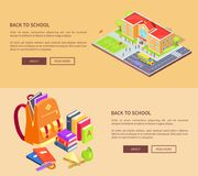 Back to School Posters with Building and Supplies Stock Image