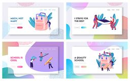 Back to School Website Landing Page Set, Male and Female Characters on Ladders Put Accessories into Backpack. Pencil, Paints royalty free illustration