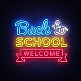 Back to School Welcome greeting card design template neon vector. Modern trend design, the beginning of the school year. Neon sign. Back to School for greeting royalty free illustration