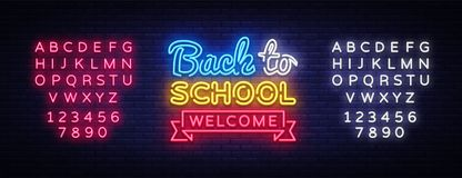 Back to School Welcome greeting card design template neon vector. Modern trend design, the beginning of the school year. Neon sign. Back to School invitation vector illustration