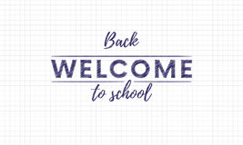 Back to school welcome hand drawn chalk texture inscriptions and text on copy book paper. Vector. Stock Image