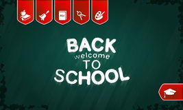 Back to school. Welcome back to school poster with text on chalkboard vector illustration Royalty Free Stock Photo