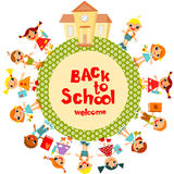 Back to School. Welcome back to school. Schoolchildren go to school, holding hands. Vector illustration Royalty Free Stock Photography