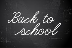 Back to school  white illustration on chalkboard Stock Image