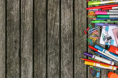 Back to School Wood Background with Colorful School Supplies. Horizontal Royalty Free Stock Image