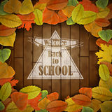 Back to school wood board with leaves Stock Photos