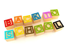 Back to school - wood letters cubes Royalty Free Stock Images