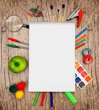 Back to school. On a wooden background. royalty free stock image