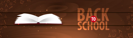 Back to School wooden background. Education banner. Vector illustration. Royalty Free Stock Photo