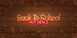 Back to School wooden background. Education banner. Vector illustration. Stock Images
