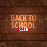 Back to School wooden background. Education banner. Vector illustration. Stock Photo