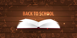 Back to School wooden background. Education banner. Vector illustration. Stock Image
