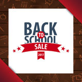 Back to School wooden background. Education banner. Vector illustration. Stock Photos