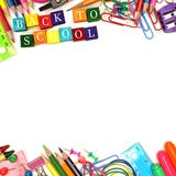 Back To School wooden blocks with double border Stock Photos