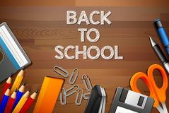 Back to school wooden template royalty free illustration