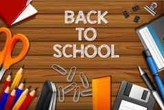 Back to school on wooden template stock illustration