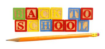 Back to School wooden toy blocks with pencil Stock Photos