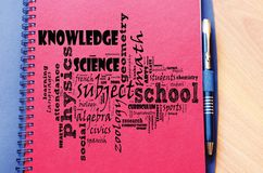 Back to school word cloud collage. Over notepad background stock photos