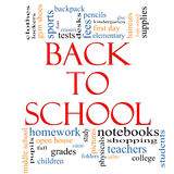 Back to School Word Cloud Concept Stock Image
