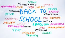 Back to school word cloud Stock Photos