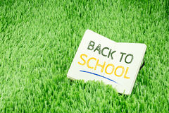 Back to school word on open book on green grass, Education campu Stock Image