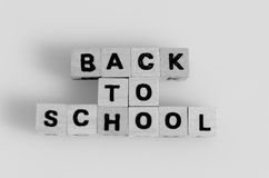 Back to school. The word Back To School written in cube letters Stock Image