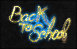 Back to school words lettering made by fire or flame isolated on black background.  Stock Images