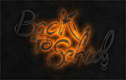 Back to school words lettering made by fire or flame isolated on black background.  Royalty Free Stock Images