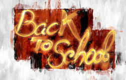 Back to school words lettering made of smoke or fire on abstract painted background.  Stock Photo