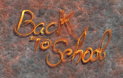 Back to school words lettering made by white fire on corrodet metal background.  Royalty Free Stock Photos